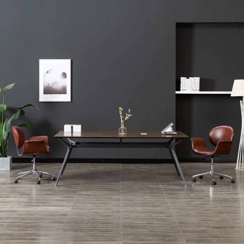 vidaXL Scaun pivotant de birou, maro, piele ecologică imagine vidaxl.ro