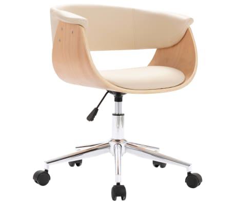 vidaXL Snurrbar kontorsstol gräddvit böjträ och konstläder