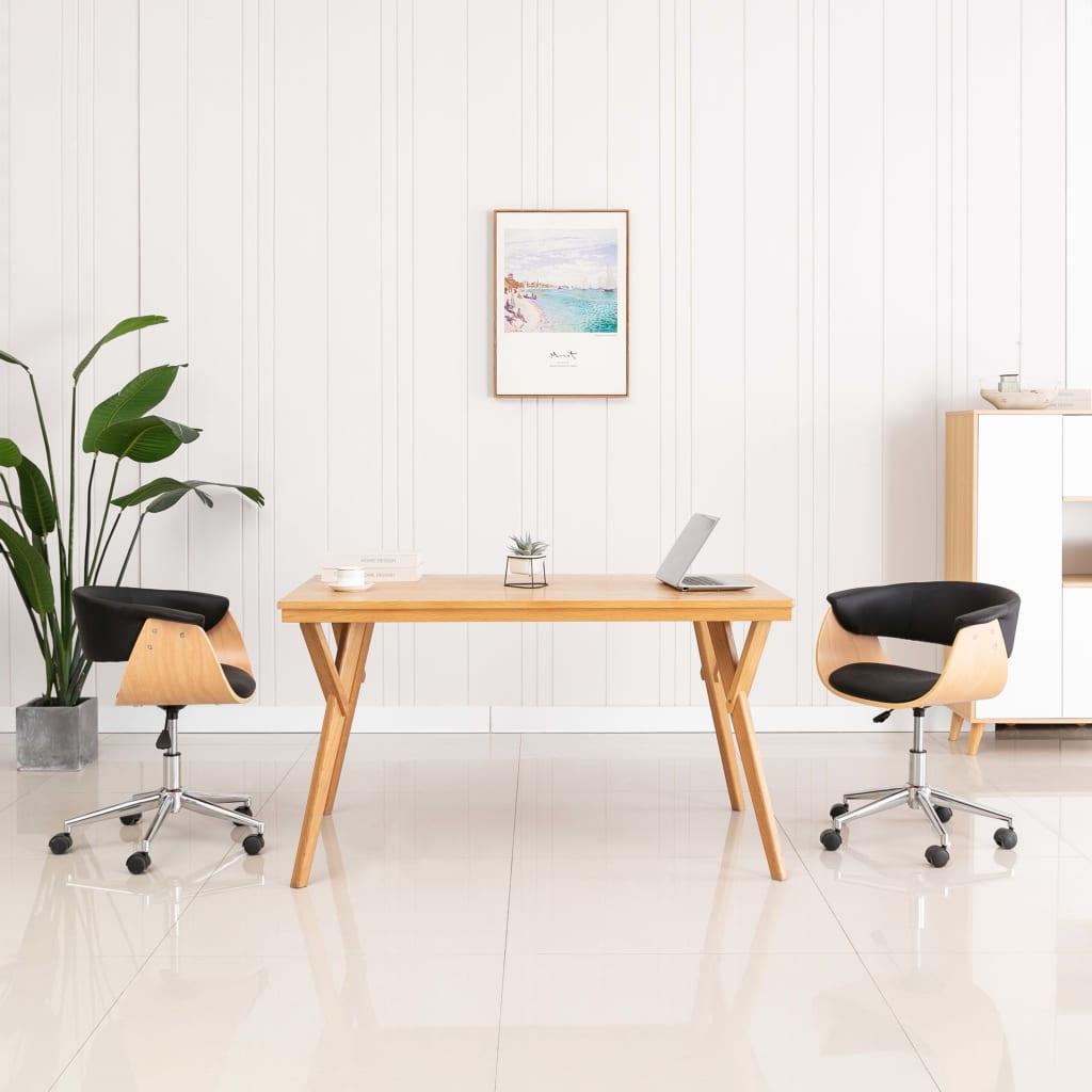 vidaXL Scaun de birou pivotant, negru, lemn curbat și piele ecologică imagine vidaxl.ro