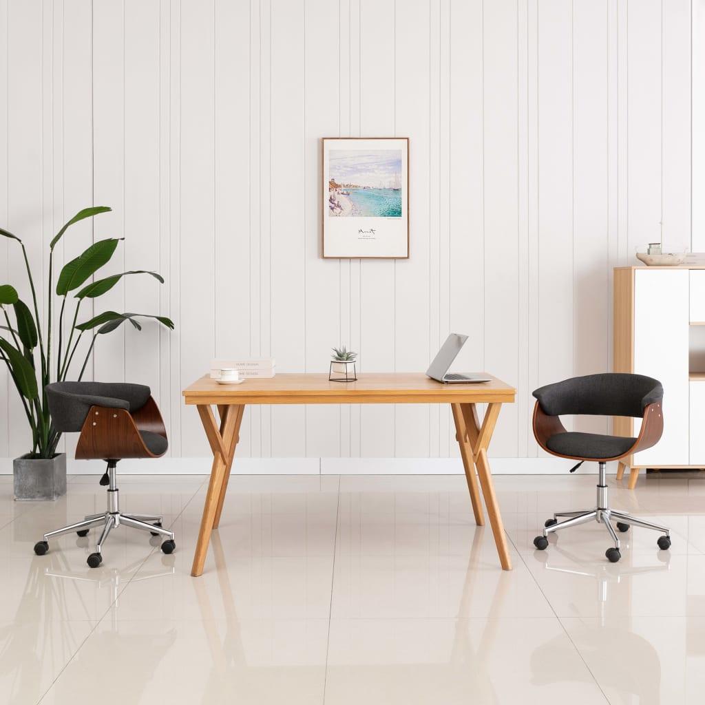 Otočná kancelářská židle šedá ohýbané dřevo a textil