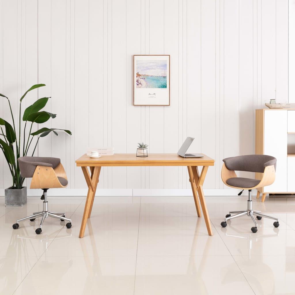 vidaXL Scaun de birou pivotant, gri taupe, lemn curbat și textil imagine vidaxl.ro