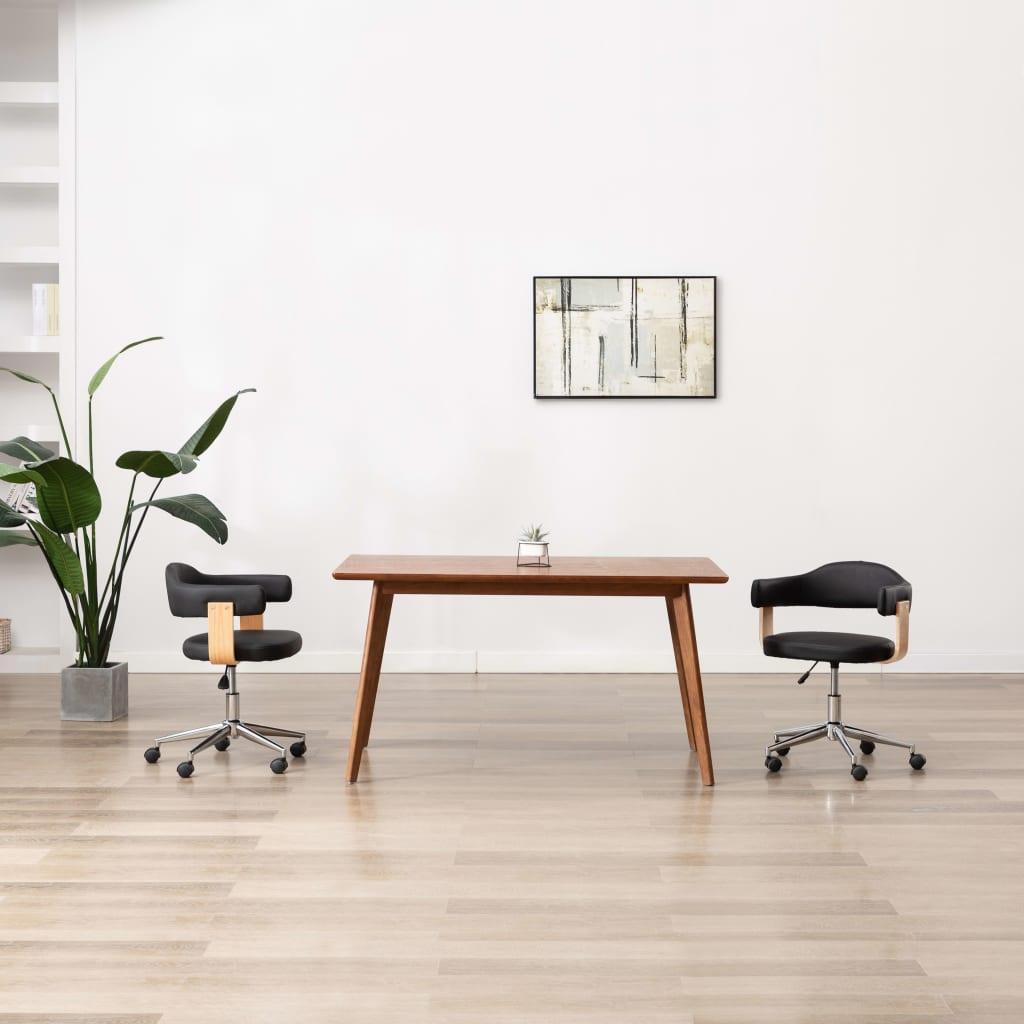 Otočná kancelářská židle černá ohýbané dřevo a umělá kůže