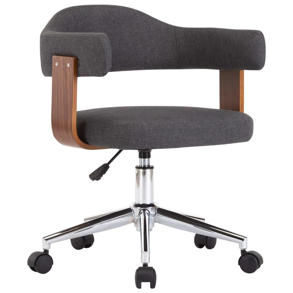 vidaXL Scaun de birou pivotant, gri, lemn curbat și material textil vidaxl.ro