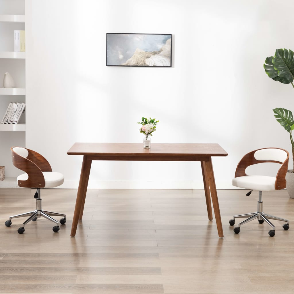 vidaXL Scaun de birou pivotant, alb, lemn curbat și piele ecologică vidaxl.ro