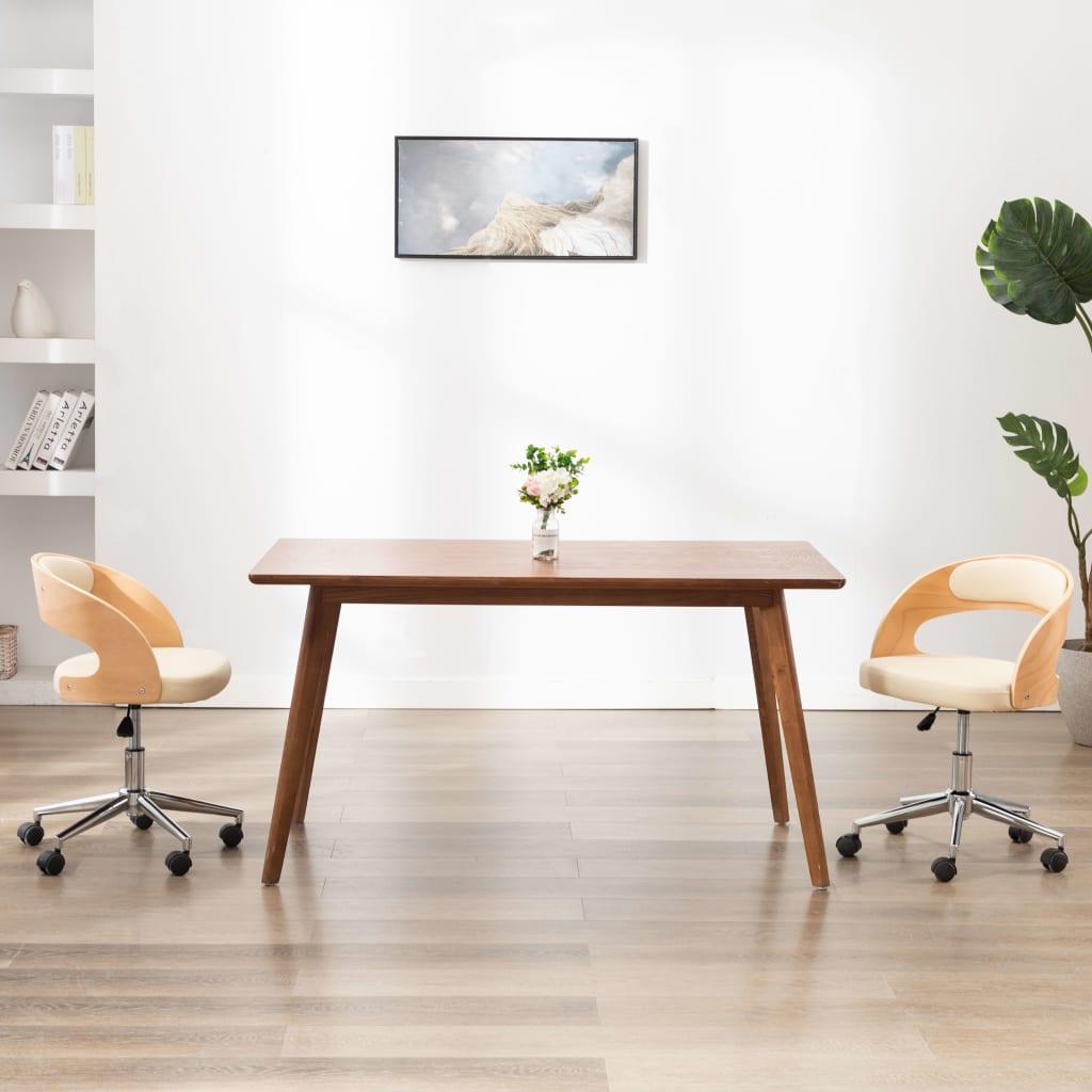 vidaXL Scaun de birou pivotant, crem, lemn curbat și piele ecologică vidaxl.ro