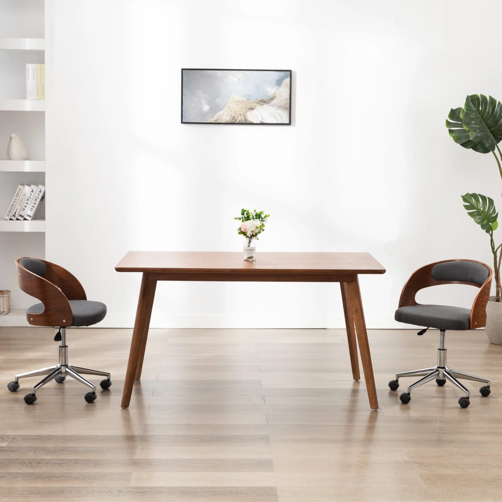vidaXL Scaun de birou pivotant, gri, lemn curbat și material textil poza 2021 vidaXL