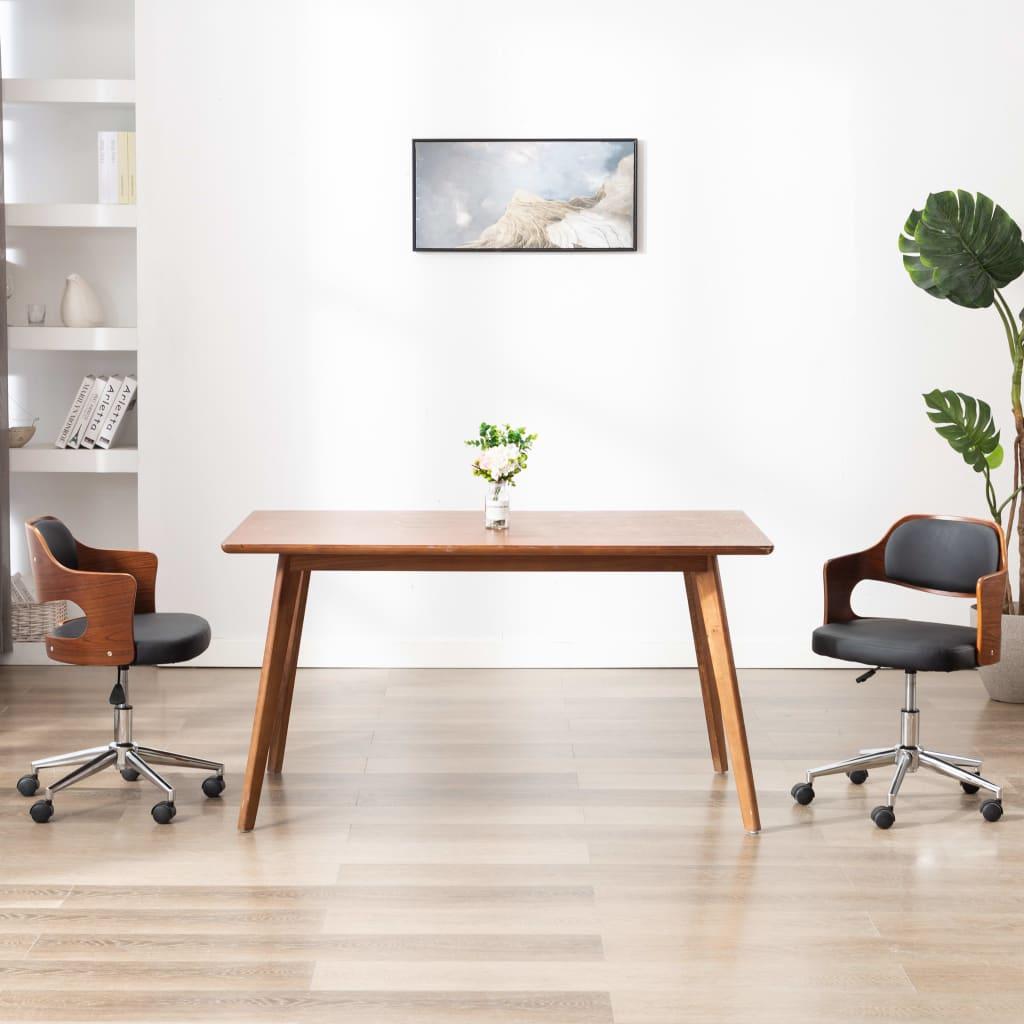 vidaXL Scaun de birou pivotant, negru, lemn curbat și piele ecologică vidaxl.ro