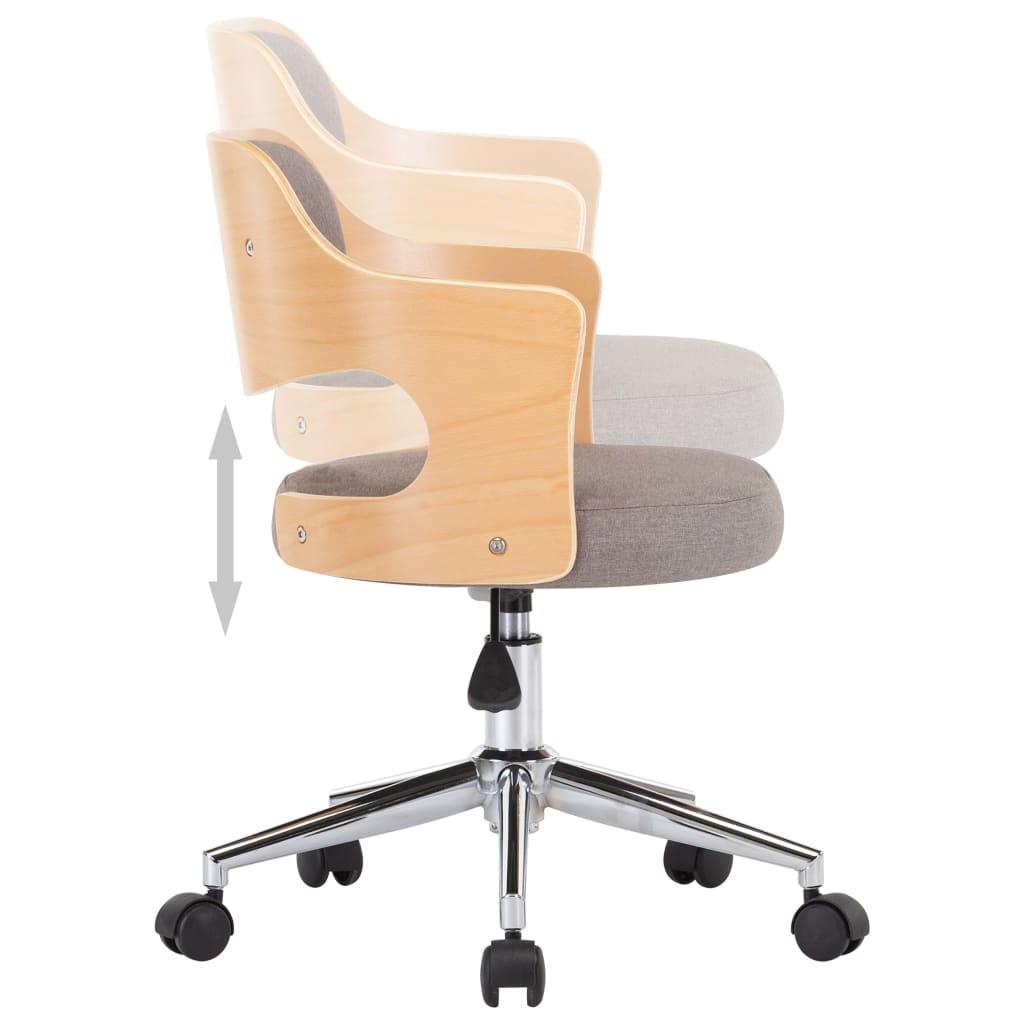 vidaXL Kantoorstoel draaibaar gebogen hout en stof taupe