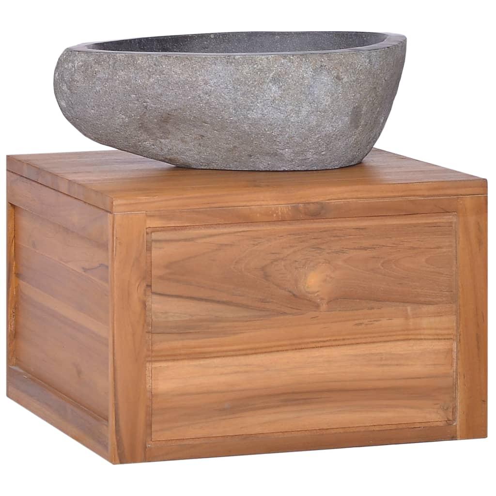 vidaXL Dulap de baie suspendat, 45 x 45 x 30 cm, lemn masiv de tec imagine vidaxl.ro