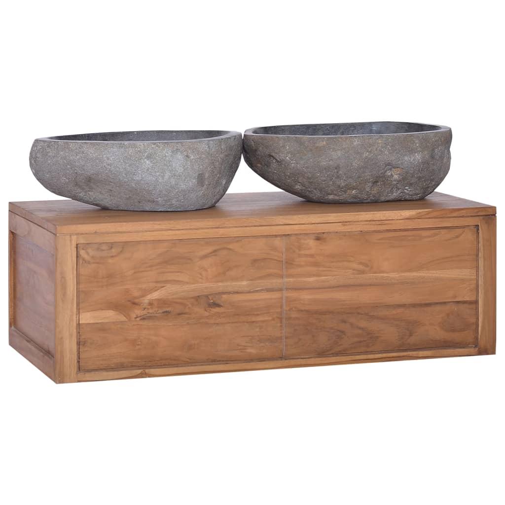 vidaXL Łazienkowa szafka ścienna, 90x45x30 cm, lite drewno tekowe
