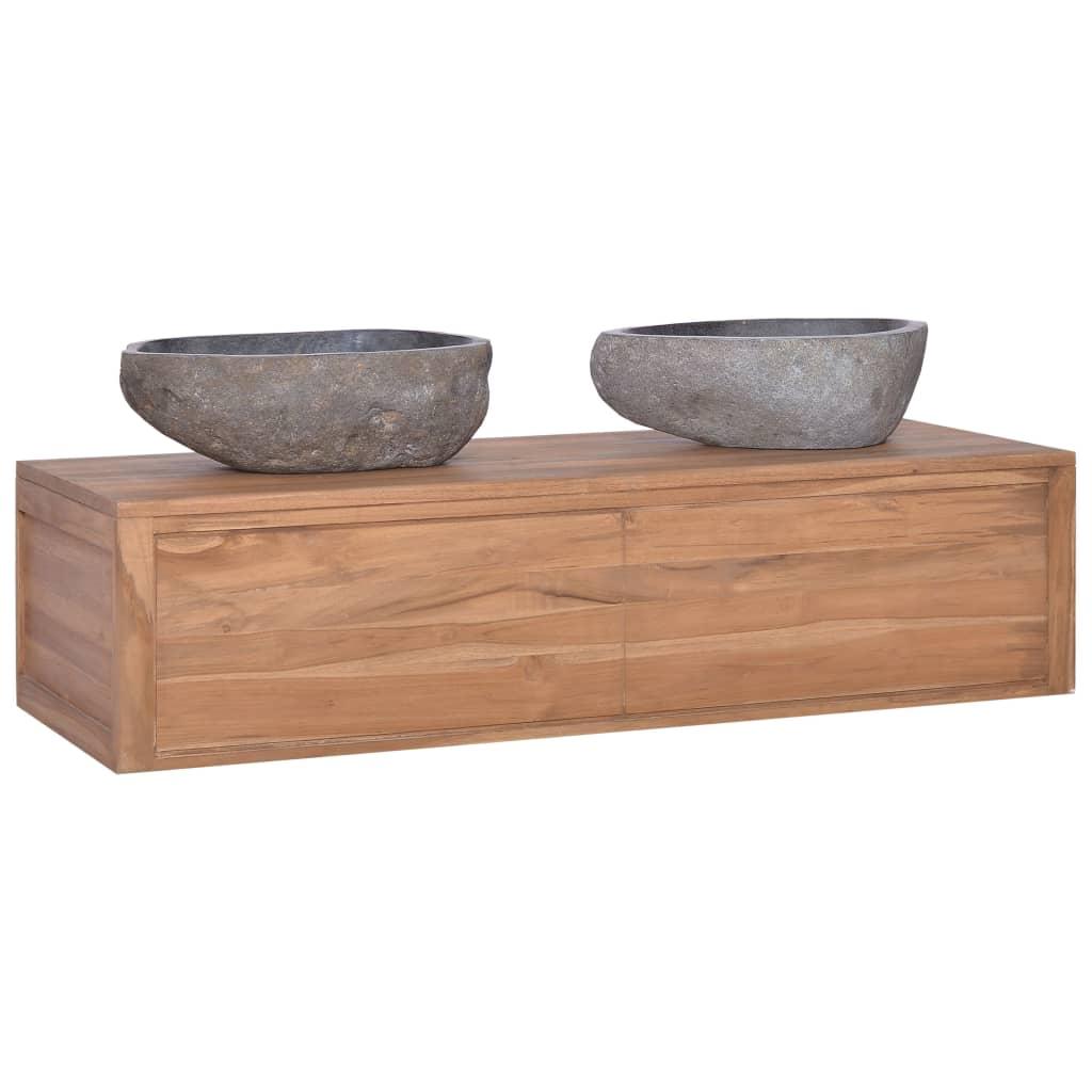 vidaXL Dulap de baie suspendat, 120 x 45 x 30 cm, lemn masiv de tec poza 2021 vidaXL