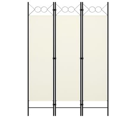 vidaXL Paravan de cameră cu 3 panouri, alb crem, 120 x 180 cm