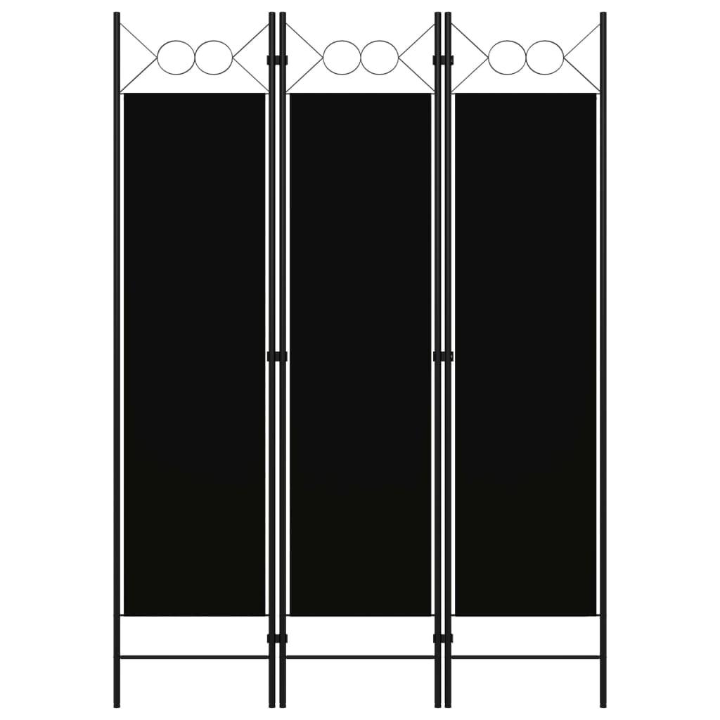 vidaXL Paravan de cameră cu 3 panouri, negru, 120 x 180 cm vidaxl.ro