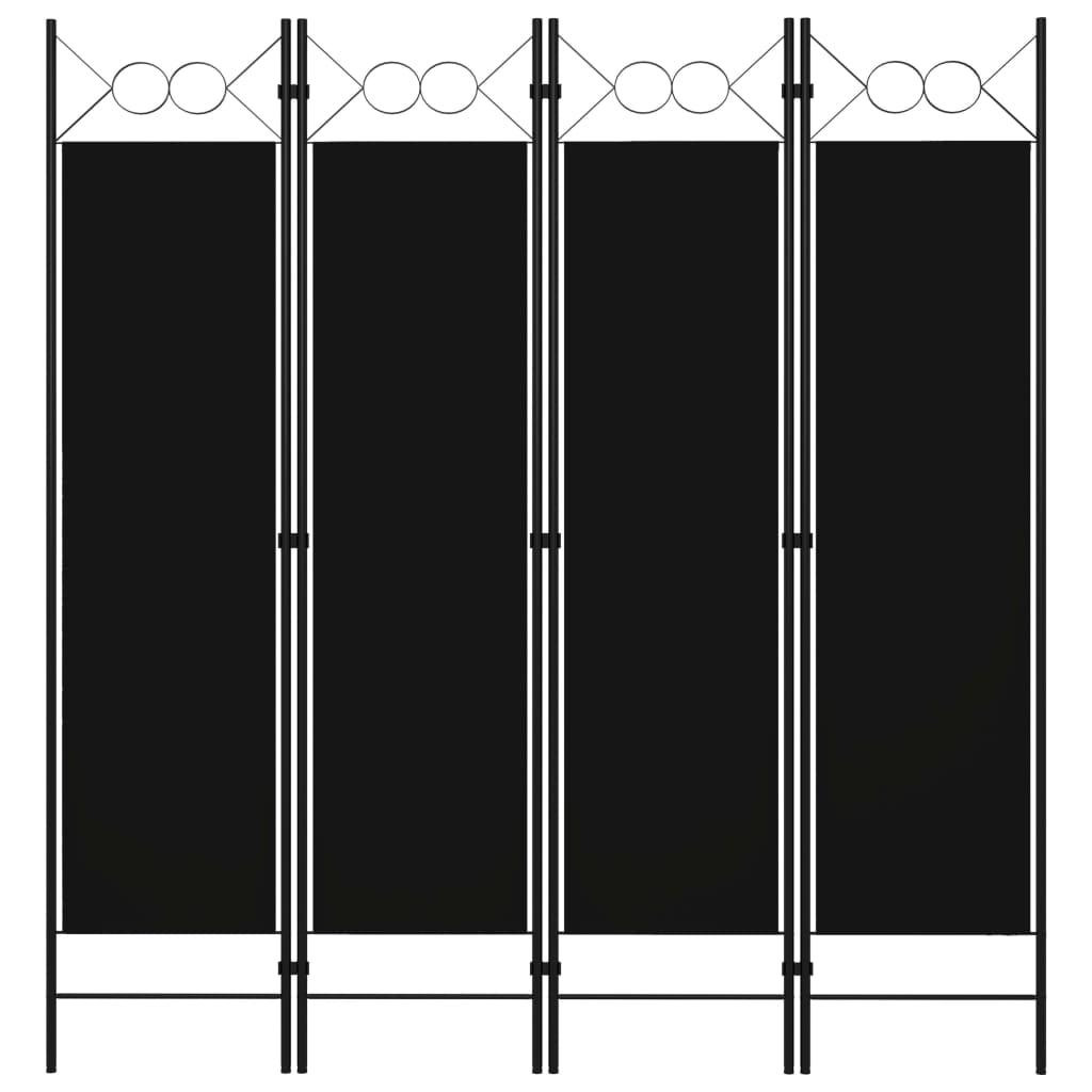 vidaXL Paravan de cameră cu 4 panouri, negru, 160 x 180 cm vidaxl.ro