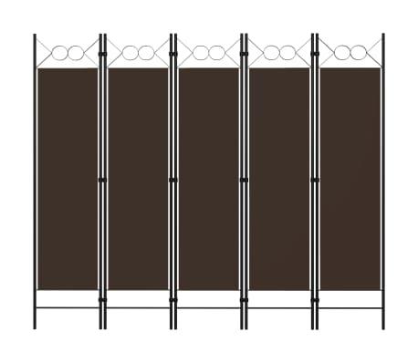 vidaXL Paravan de cameră cu 5 panouri, maro, 200 x 180 cm