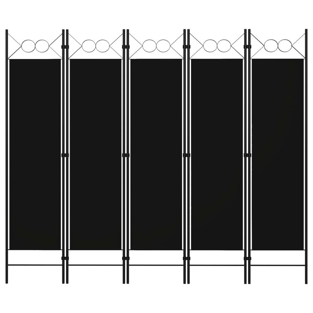 vidaXL Parawan 5-panelowy, czarny, 200 x 180 cm