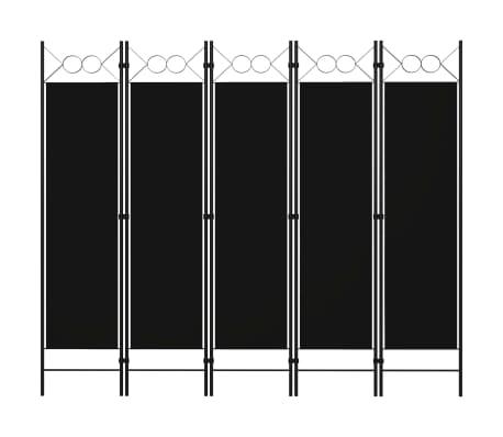 vidaXL Paravan de cameră cu 5 panouri, negru, 200 x 180 cm