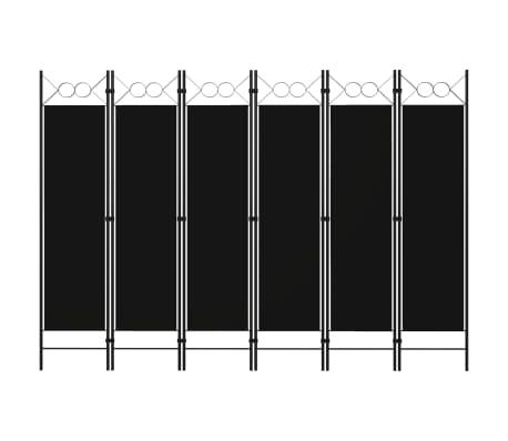 vidaXL Paravan de cameră cu 6 panouri, negru, 240 x 180 cm