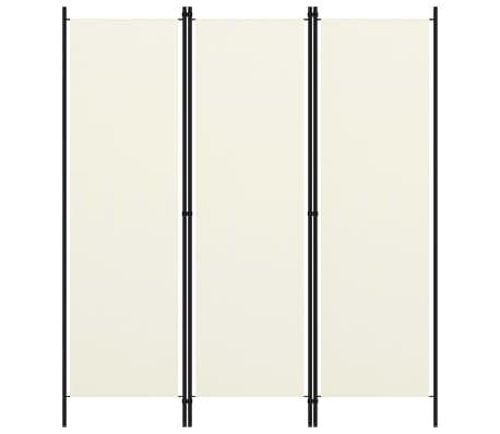 vidaXL Paravan de cameră cu 3 panouri, alb crem, 150 x 180 cm