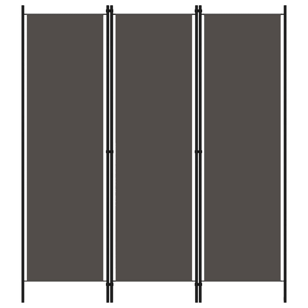 vidaXL Parawan 3-panelowy, antracytowy, 150 x 180 cm
