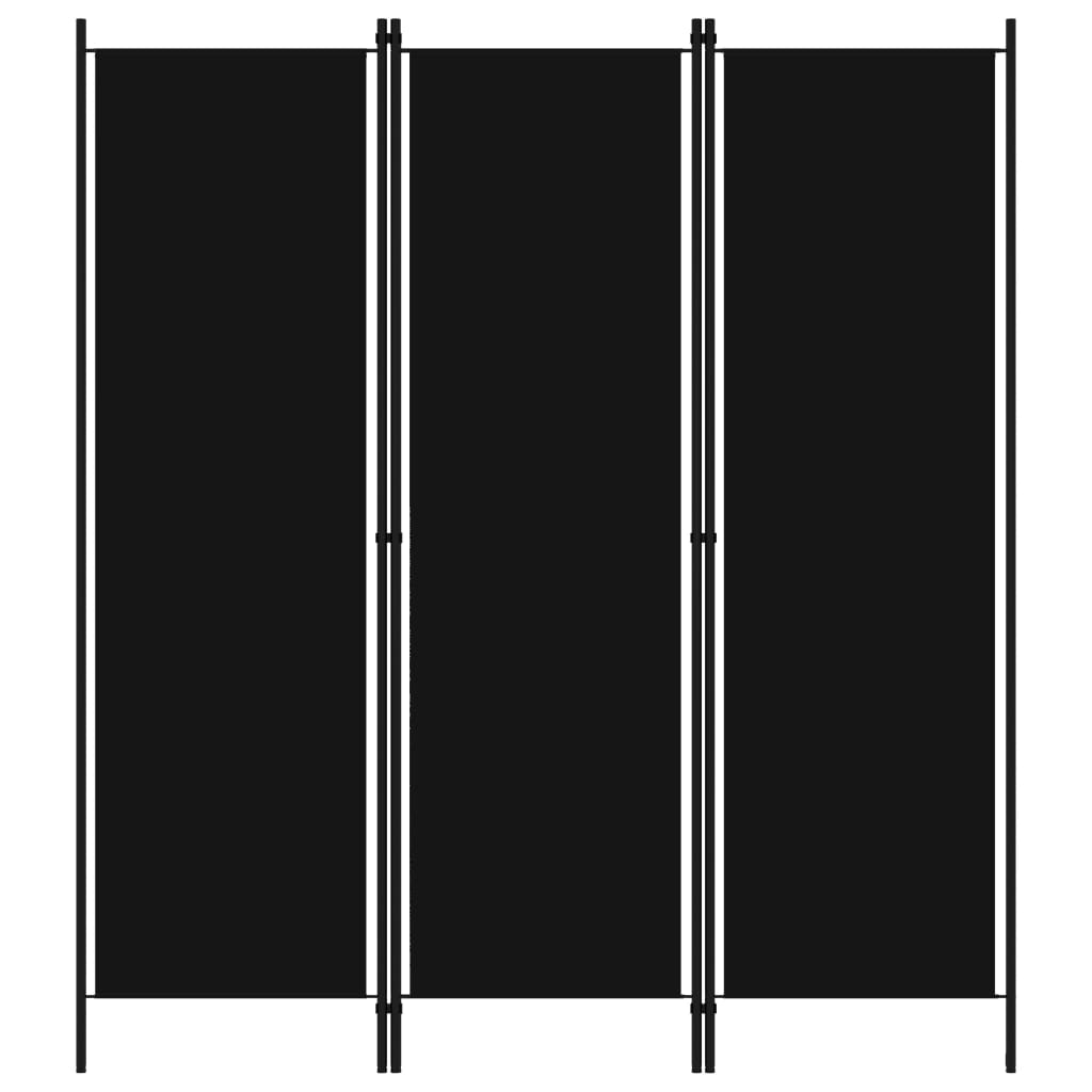 vidaXL Paravan de cameră cu 3 panouri, negru, 150 x 180 cm vidaxl.ro