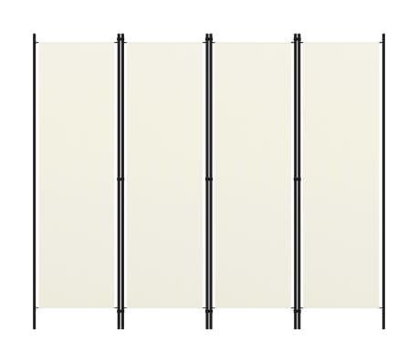 vidaXL Paravan de cameră cu 4 panouri, alb crem, 200 x 180 cm