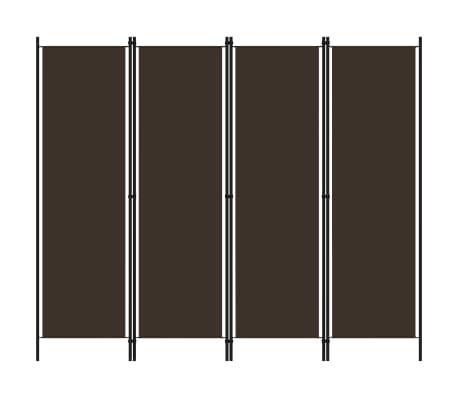 vidaXL Paravan de cameră cu 4 panouri, maro, 200 x 180 cm