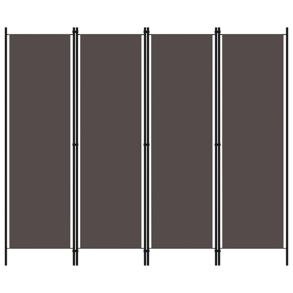 4dílný paraván antracitový 200 x 180 cm