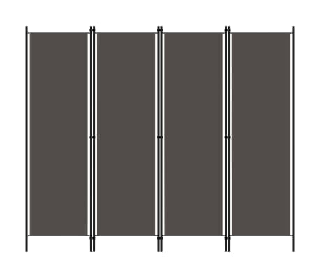 vidaXL Paravan de cameră cu 4 panouri, antracit, 200 x 180 cm