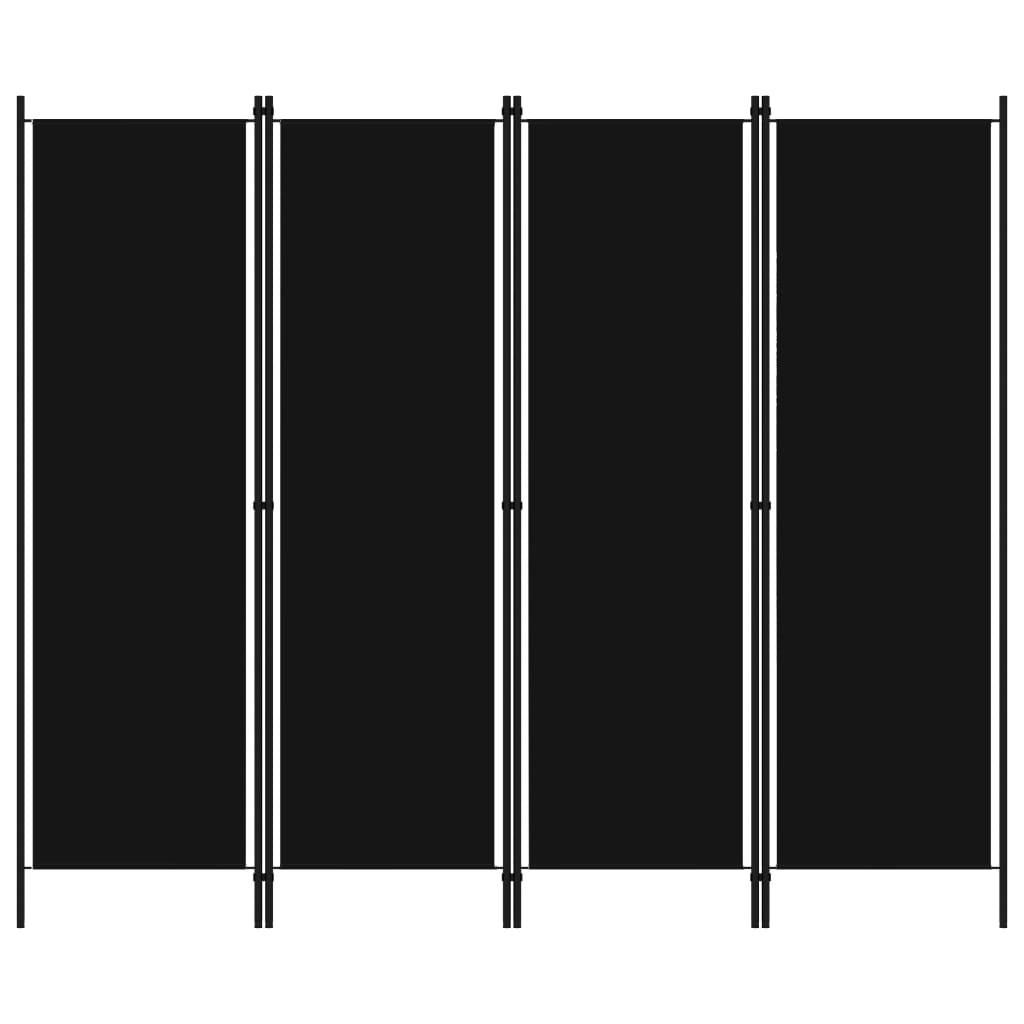 vidaXL Paravan de cameră cu 4 panouri, negru, 200 x 180 cm vidaxl.ro