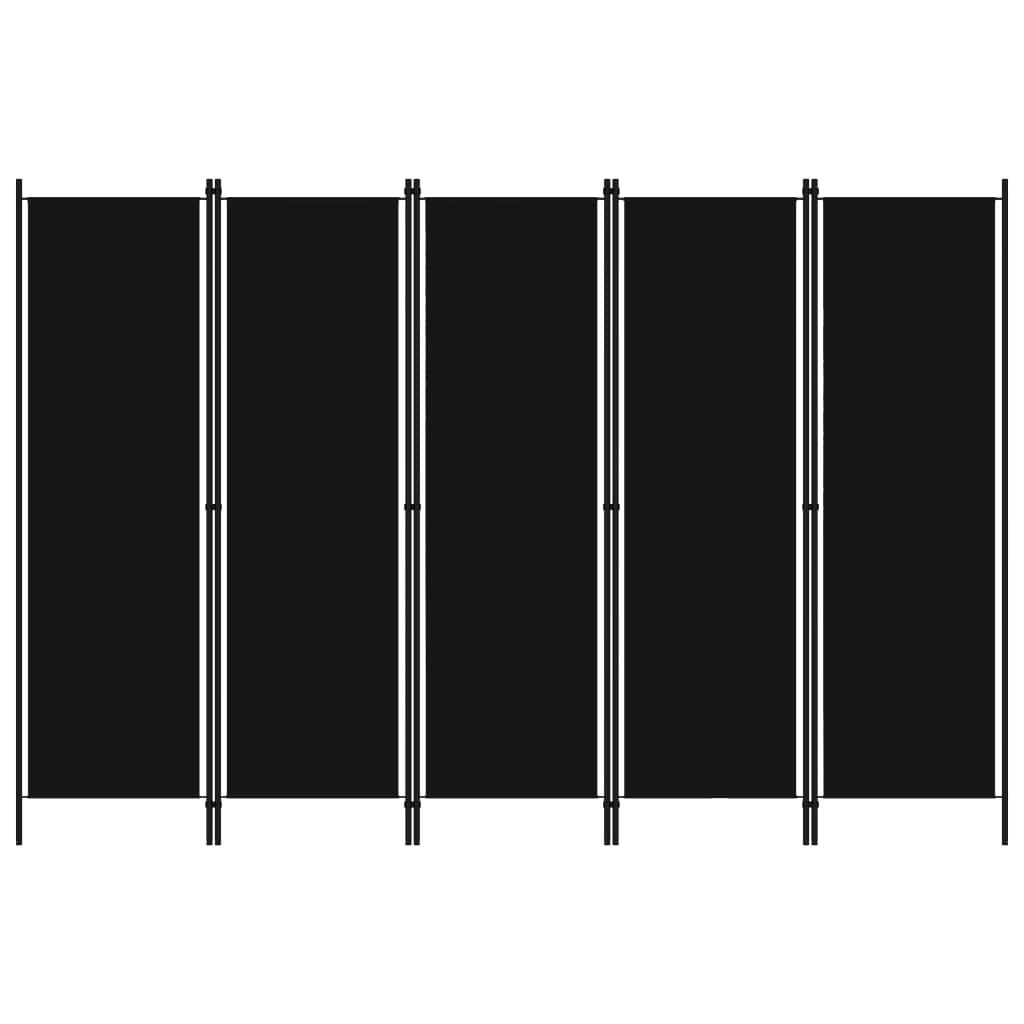 vidaXL Paravan de cameră cu 5 panouri, negru, 250 x 180 cm poza 2021 vidaXL