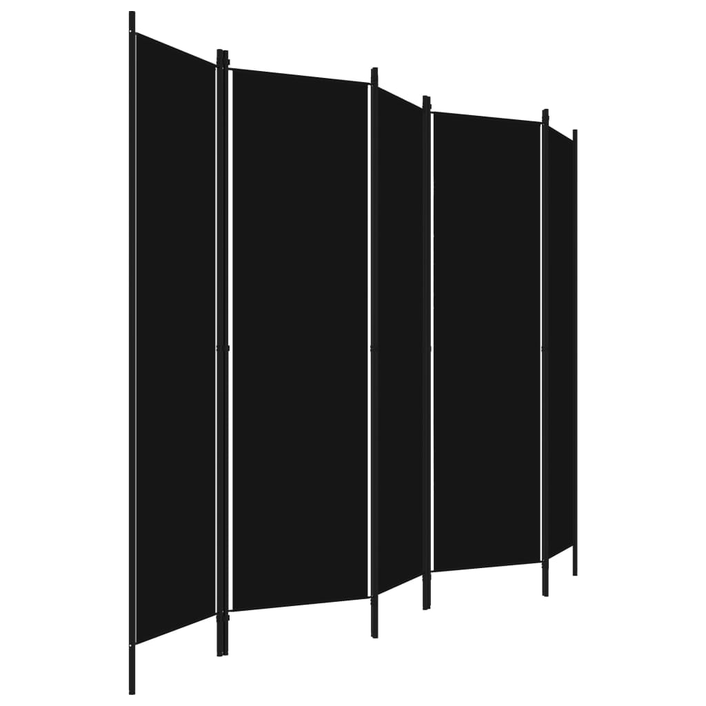 vidaXL Kamerscherm met 5 panelen 250x180 cm zwart