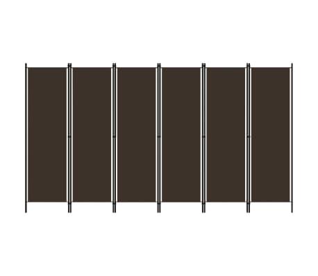 vidaXL Paravan de cameră cu 6 panouri, maro, 300 x 180 cm
