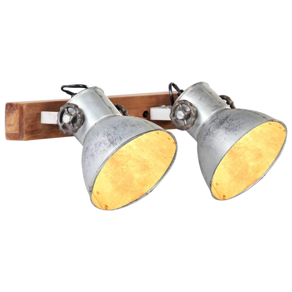 vidaXL Industrialna lampa ścienna, srebrna, 45x25 cm, E27