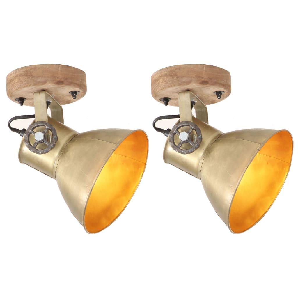 vidaXL Industrialne lampy ścienne/sufitowe 2 szt. mosiądz 20x25 cm E27