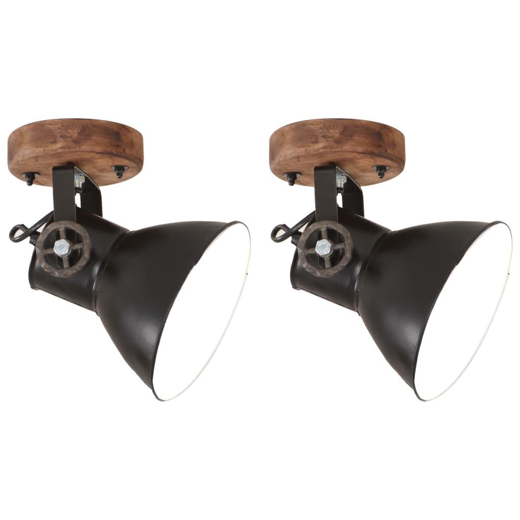 vidaXL Industrialne lampy ścienne/sufitowe 2 szt, czarne, 20x25 cm E27