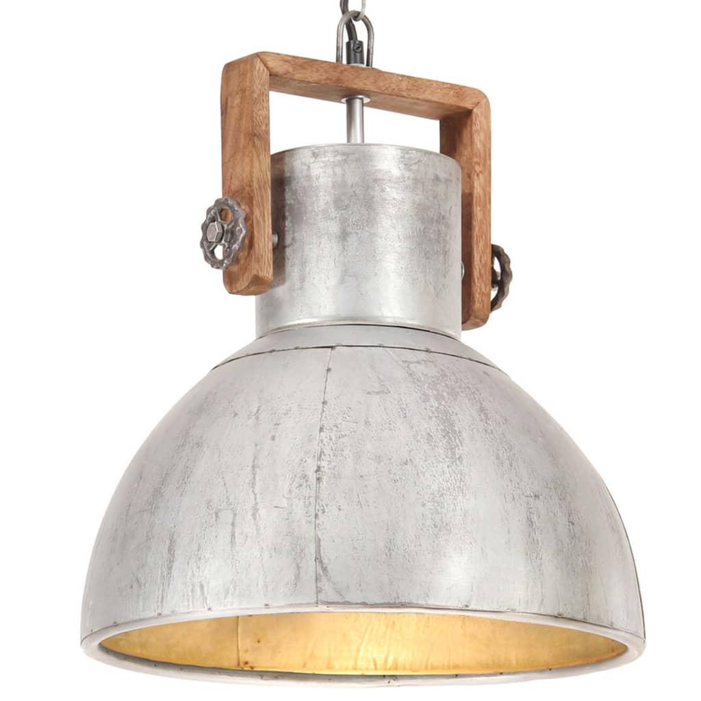 vidaXL Industrialna lampa wisząca, 25 W, srebrna, okrągła, 40 cm, E27
