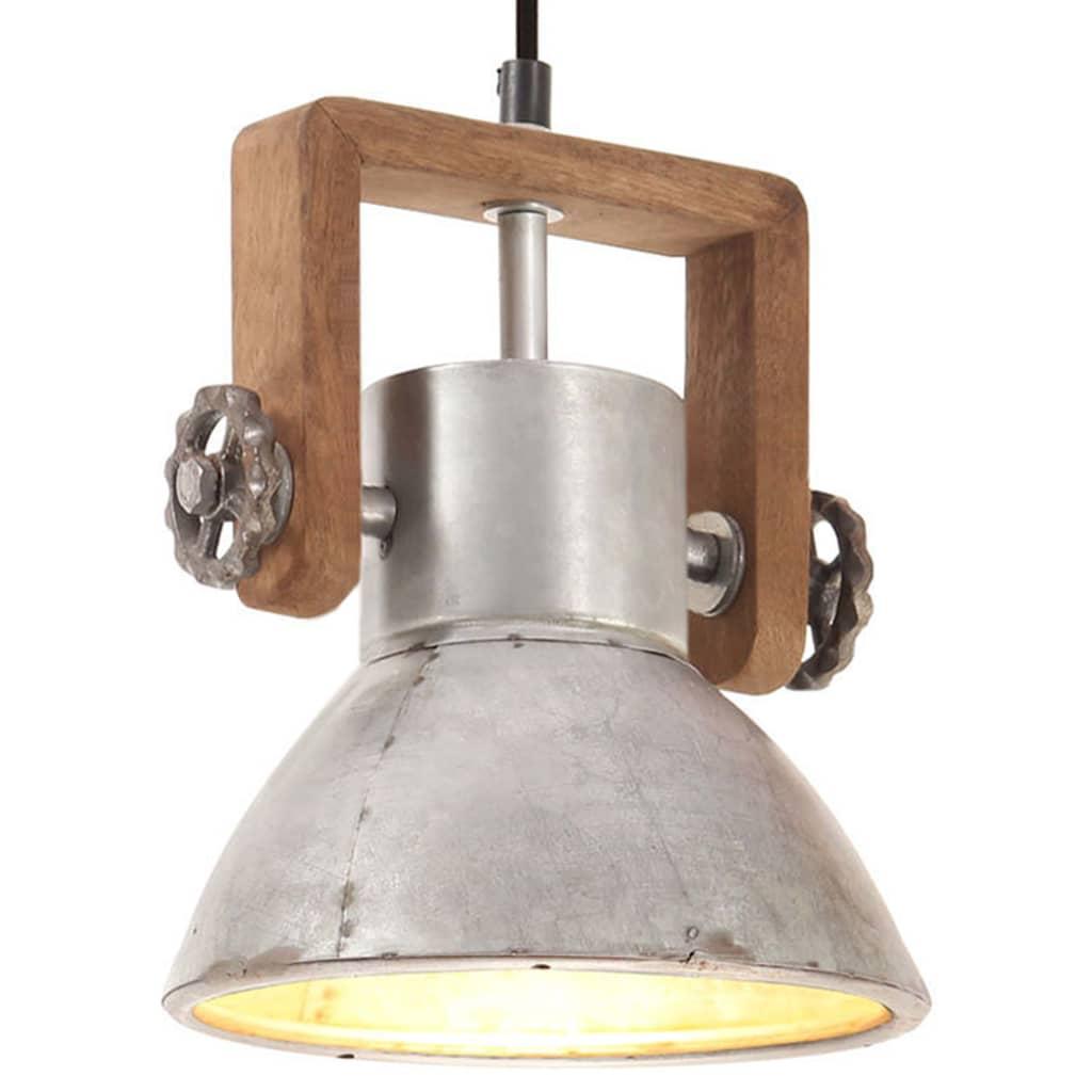 vidaXL Lampă suspendată industrială, 25 W, argintiu, rotund, 19 cm E27 poza 2021 vidaXL