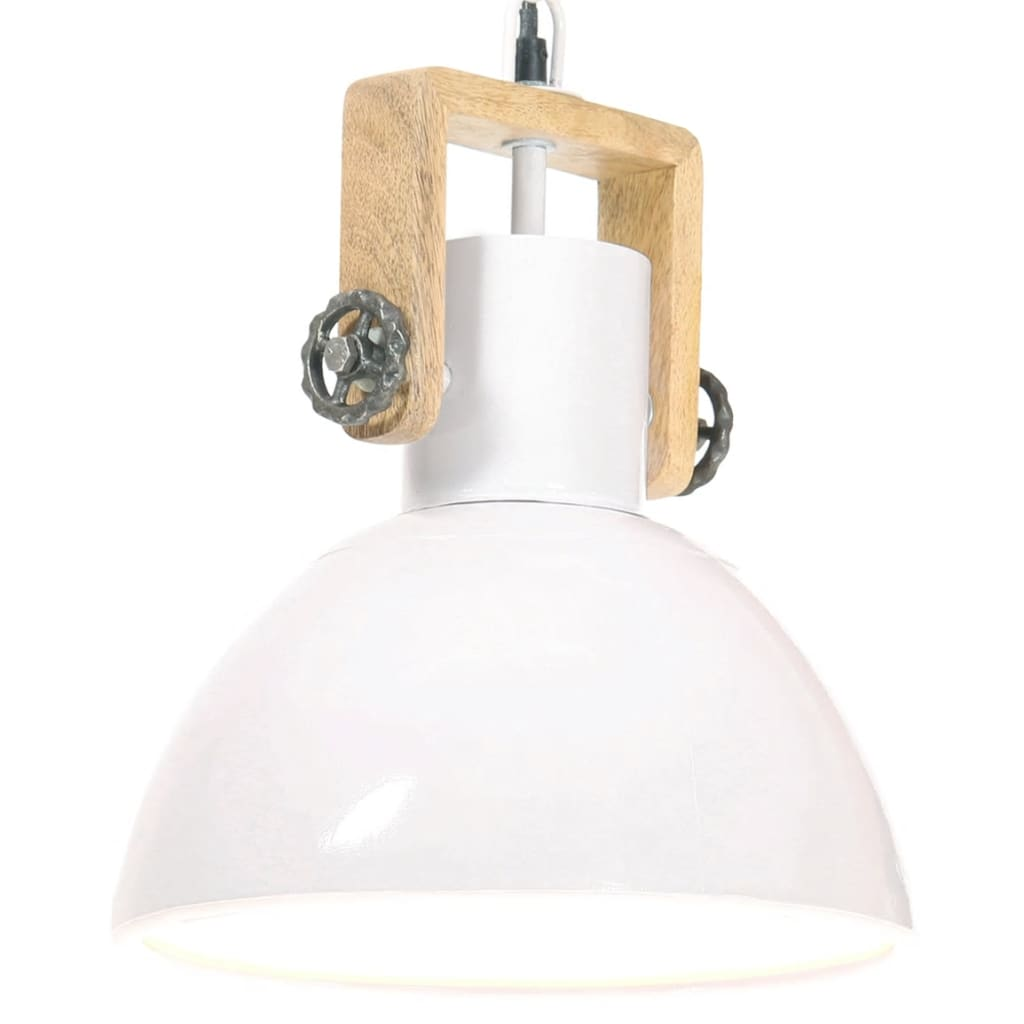 vidaXL Industrialna lampa wisząca, 25 W, biała, okrągła, 30 cm, E27