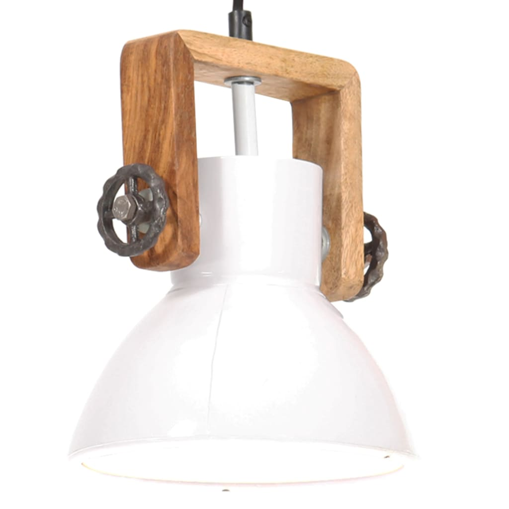 vidaXL Lampă suspendată industrială, 25 W, alb, 19 cm, E27, rotund poza vidaxl.ro