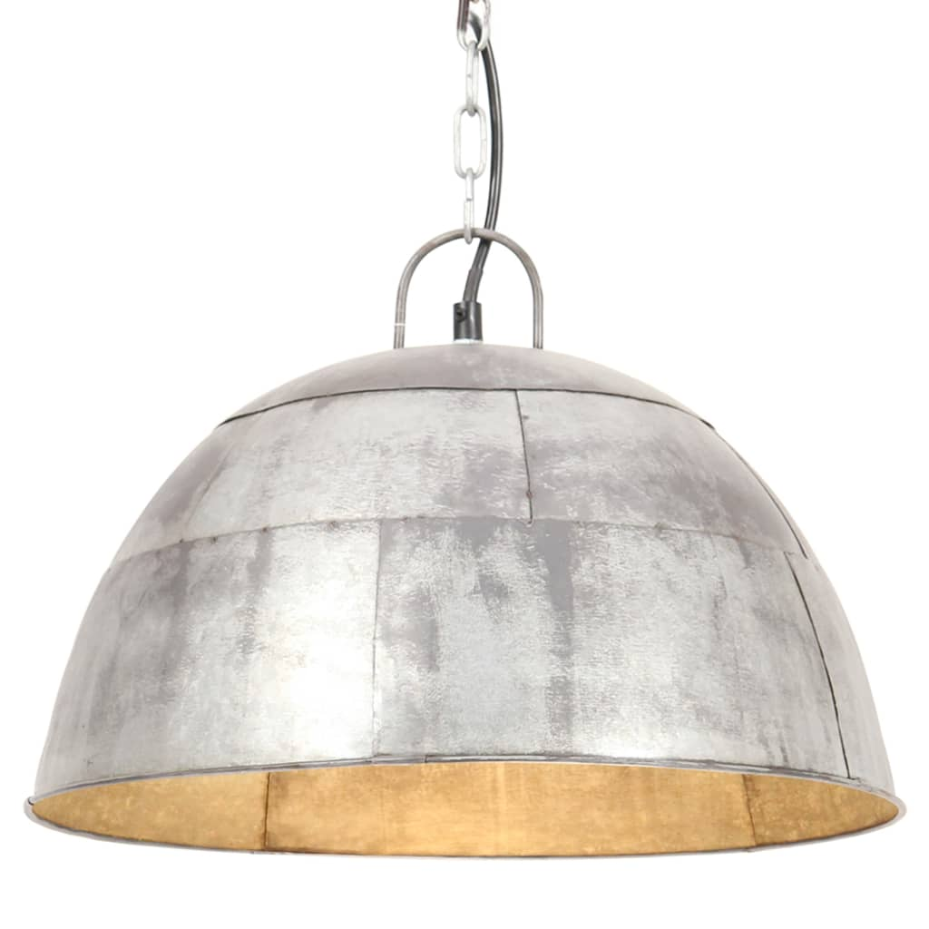vidaXL Lustră industrială vintage, 25 W, argintiu, rotund, 41 cm, E27 poza vidaxl.ro