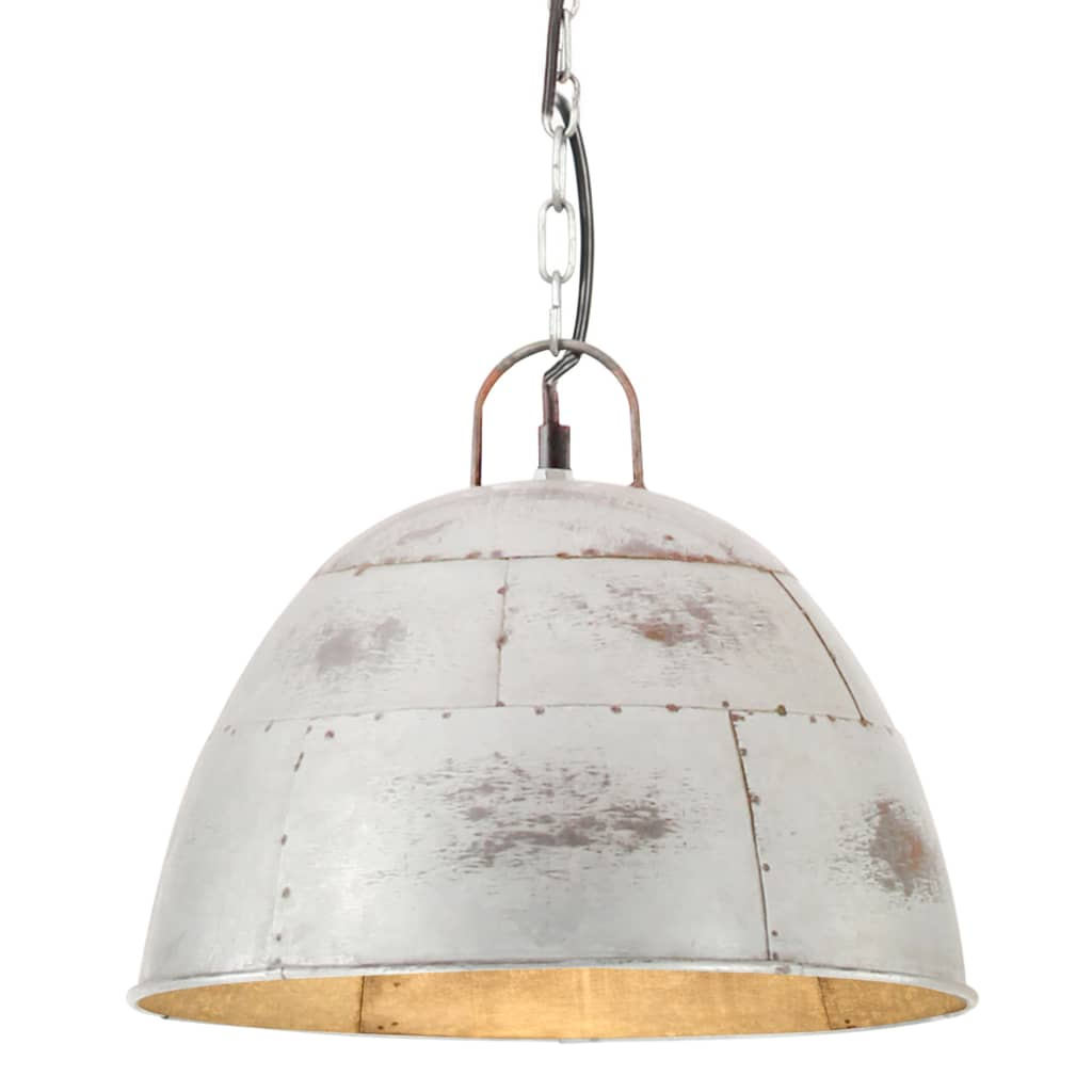 vidaXL Lustră industrială vintage, 25 W, argintiu, rotund, 31 cm E27 vidaxl.ro