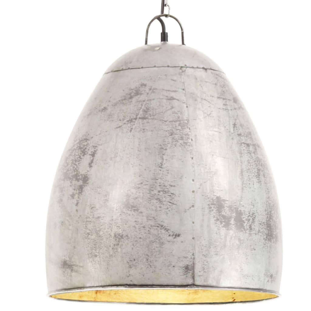 vidaXL Industrialna lampa wisząca, 25 W, srebrna, okrągła, 42 cm, E27