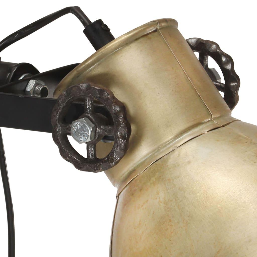 vidaXL Vloerlamp met 2 lampenkapen E27 gietijzer messingkleurig