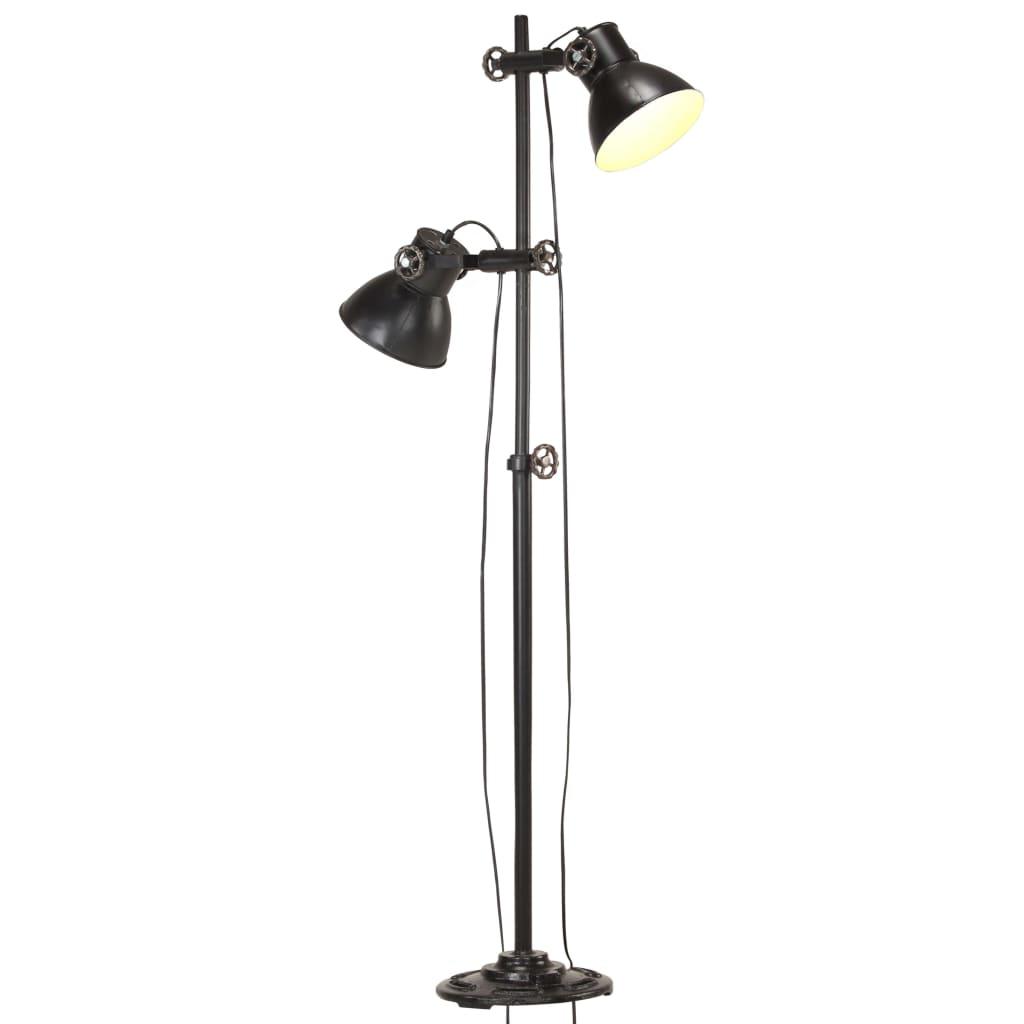 vidaXL Vloerlamp met 2 lampenkappen E27 gietijzer zwart