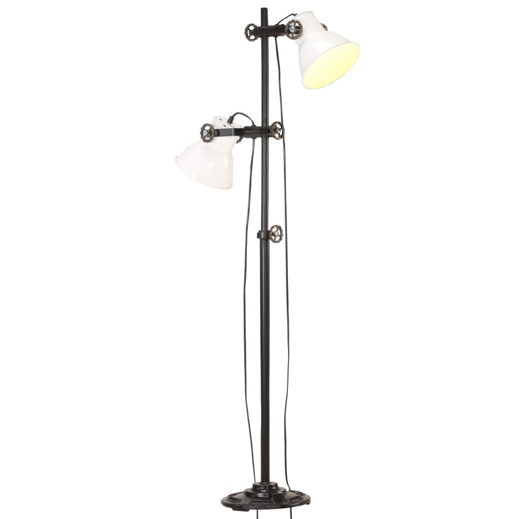 vidaXL Lampă de podea cu 2 abajururi, alb, fontă, E27 poza 2021 vidaXL