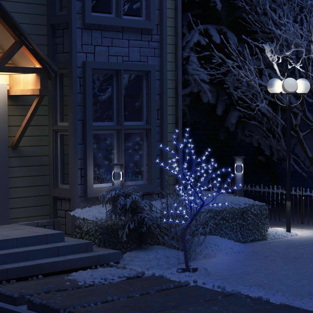 vidaXL Pom Crăciun, 128 LED-uri lumină albastră, flori de cireș 120 cm vidaxl.ro