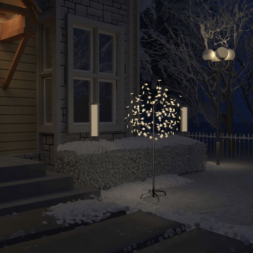 vidaXL Pom Crăciun, 120 LED-uri alb cald, flori de cireș, 150 cm vidaxl.ro
