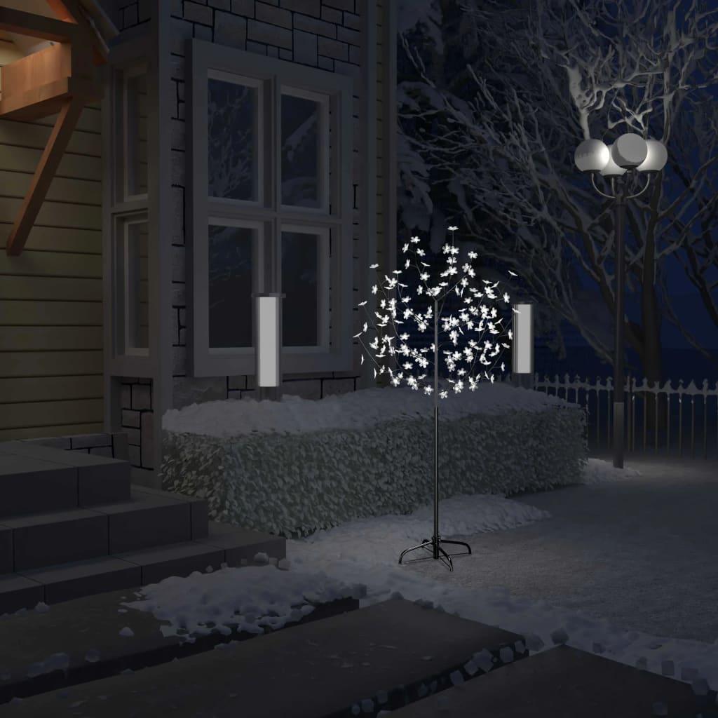 vidaXL Pom Crăciun, 120 LED-uri alb rece, flori de cireș, 150 cm vidaxl.ro