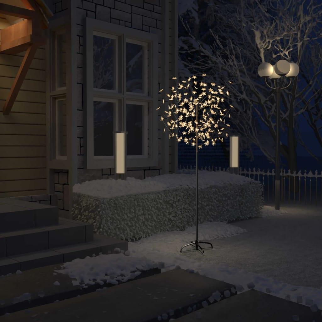 vidaXL Pom Crăciun, 200 LED-uri alb cald, flori de cireș, 180 cm vidaxl.ro